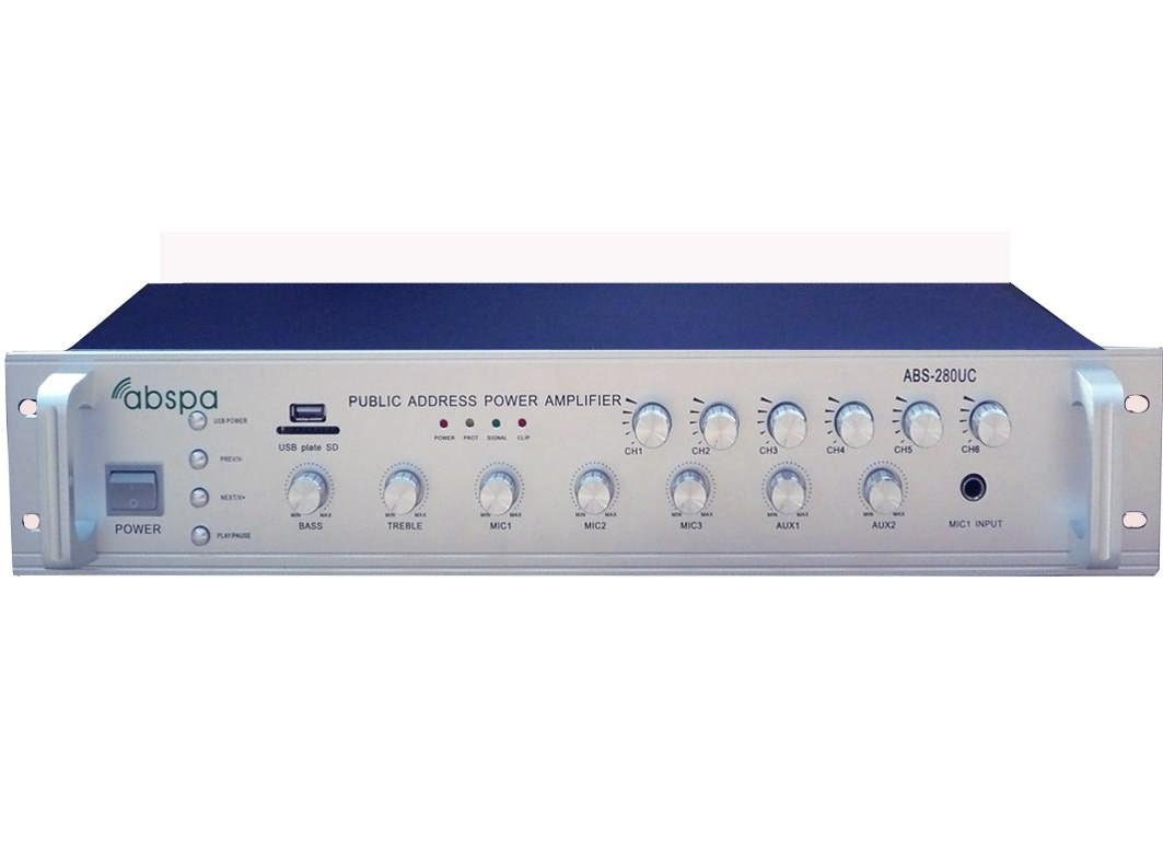 佛山市艾比声电子科技有限公司:6分区音量独立调节广播定压合并功放ABS-280UC